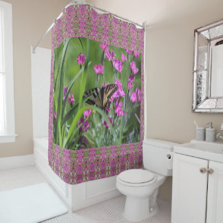 Pink Dianthus Yellow Swallowtail Butterfly Shower Curtain