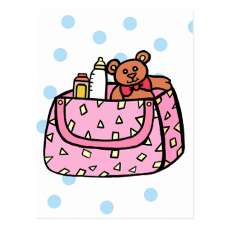 pink diaper bag post card