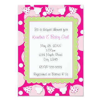 Pink diaper shower baby girl invitation