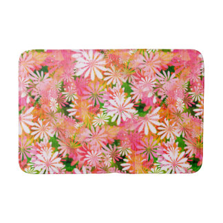 Pink Digital Daisies Bath Mat