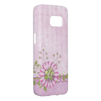 pink digital daisy on polka dot border