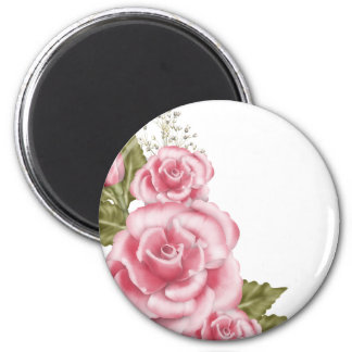 Pink Digital Roses 6 Cm Round Magnet
