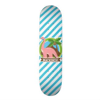 Pink Dinosaur; Blue & White Stripes Skate Board Decks