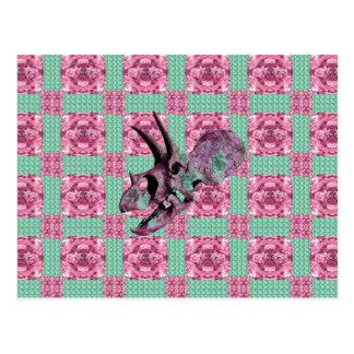 Pink Dinosaur Skull Geometric Pattern Postcard