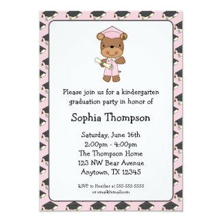 Pink Diploma Bear Girl Graduation Card