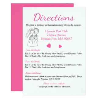 Pink Directions / Details Wedding, Bride And Groom 13 Cm X 18 Cm Invitation Card