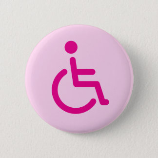 Pink disabled symbol or handicap sign for girls 6 cm round badge