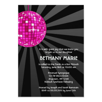 Pink Disco Ball Bat Mitzvah Invitations
