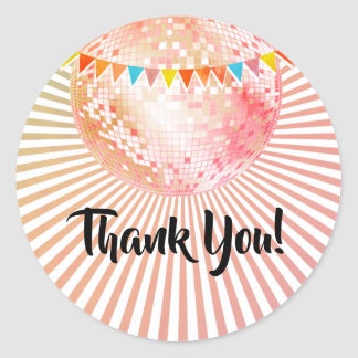pink disco ball thank you stickers
