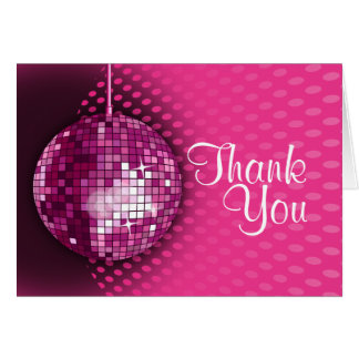 Pink Disco Birthday Party Thank You Card