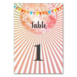 pink disco party Table card
