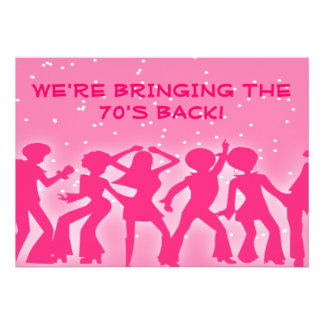 Pink Disco Theme 70 s Party Custom Invitations