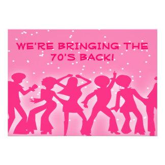 Pink Disco Theme 70's Party Custom Invitations