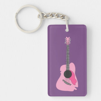 Pink Distorted Abstract Acoustic Guitar Double-Sided Rectangular Acrylic Key Ring