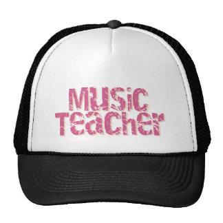 Pink Distress Text Music Teacher Cap