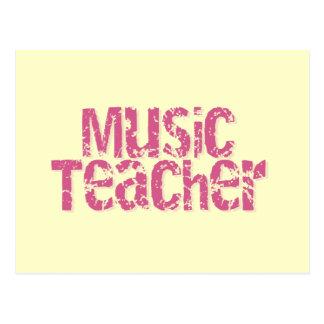 Pink Distress Text Music Teacher Postcard