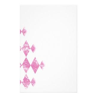 Pink Distressed Argyle Diamond Print Stationery