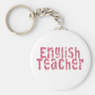 Pink Distressed Text English Teacher Basic Round Button Key Ring