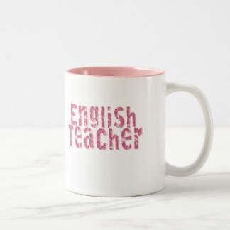 Pink Distressed Text English Teacher Two-Tone Coffee Mug