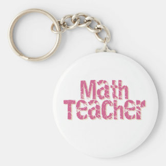 Pink Distressed Text Math Teacher Key Ring