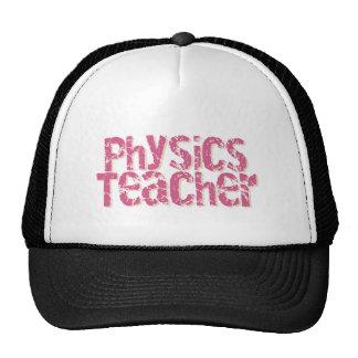 Pink Distressed Text Physics Teacher Cap