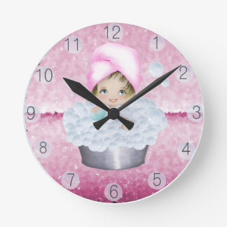 Pink Diva Bubble Bath Clock