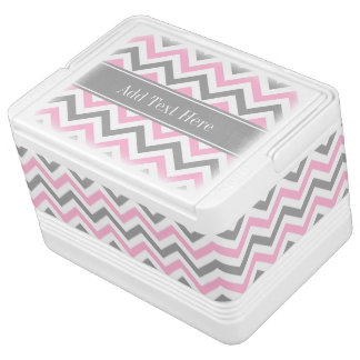 Pink Dk Gray White LG Chevron Gray Name Monogram Igloo Cooler