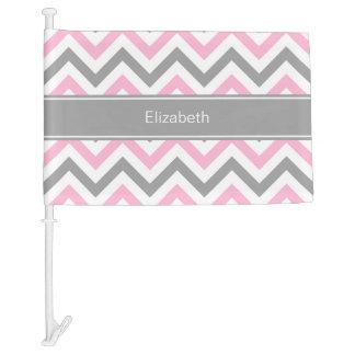Pink Dk Gray White LG Chevron Gray Name Monogram Car Flag