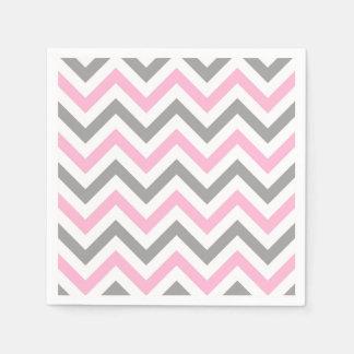 Pink, Dk Gray Wht Large Chevron ZigZag Pattern Paper Napkins