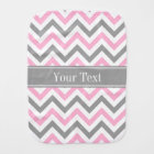 Pink Dk Grey White LG Chevron Grey Name Monogram Burp Cloth