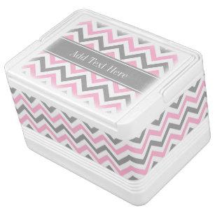 Pink Dk Grey White LG Chevron Grey Name Monogram Cooler