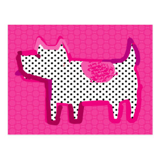 'pink dog' digital painting Postcard