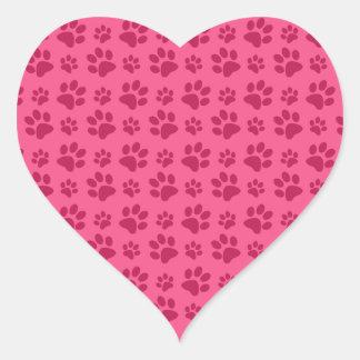 Pink dog paw prints heart sticker