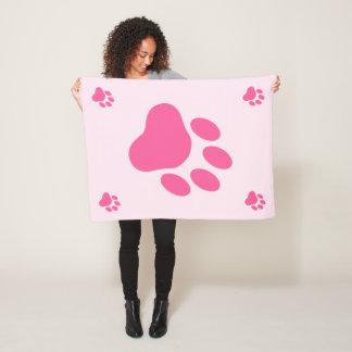 Pink Dog Paw Silhouettes Fleece Blanket