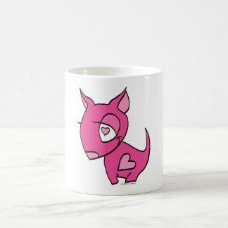 pink dog with heart mugs