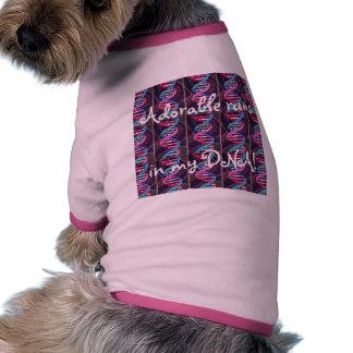 Pink Doggie Ringer Tee Adorable Runs in my DNA Doggie Tee Shirt