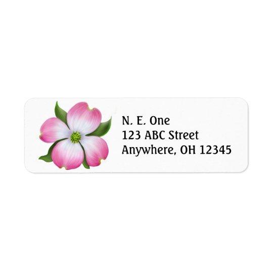 Pink Dogwood Blossom Label Return Address Label