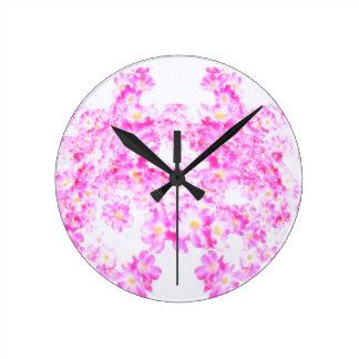 Pink Dogwood Blossom Round Clock