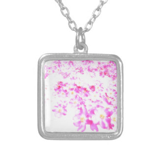 Pink Dogwood Blossom Silver Plated Necklace