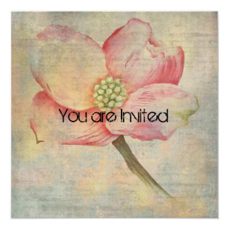 "Pink Dogwood Flower Baby Shower 5.25"" Square Invitation Card"