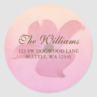 Pink Dogwood Flower Blossom Address Label Round Sticker