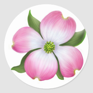 Pink Dogwood Flower Classic Round Sticker
