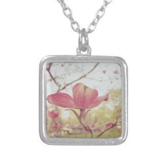 Pink Dogwood Flower Square Pendant Necklace