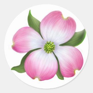 Pink Dogwood Flower Round Sticker