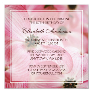 """Pink Dogwood Flowers 80th Birthday Party 5.25"""" Square Invitation Card"""