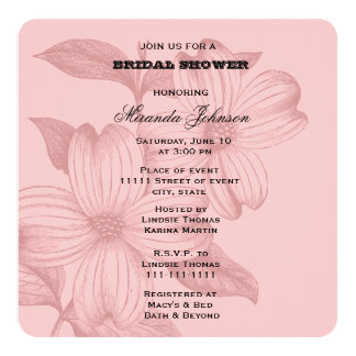 "Pink Dogwood Flowers Bridal Shower 5.25"" Square Invitation Card"