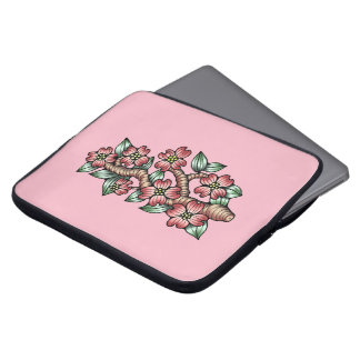Pink Dogwood Tree Branch Laptop Sleeve