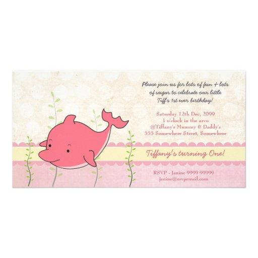Pink Dolphin Girls 1st Birthday Party Invite Photo Card