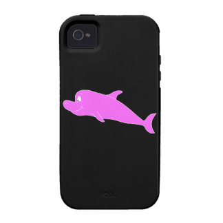 Pink Dolphin on Black. iPhone 4/4S Cases