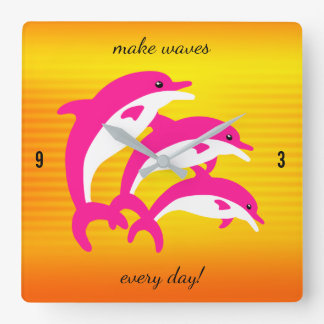 Pink Dolphins Dancing in the Tropical Sun Clock